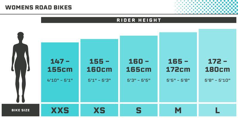 Road Bike Size Guide - Womens