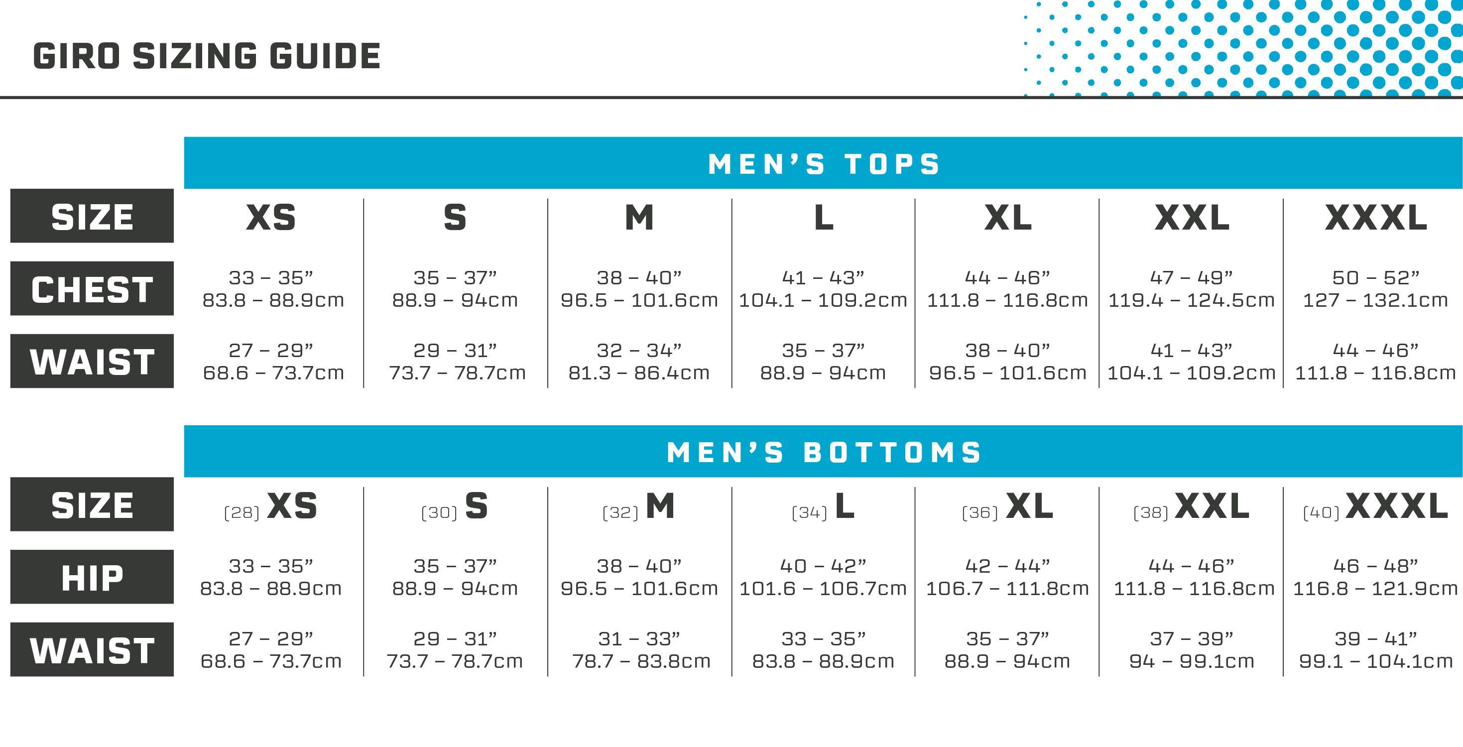 Giro Mens Size Guide