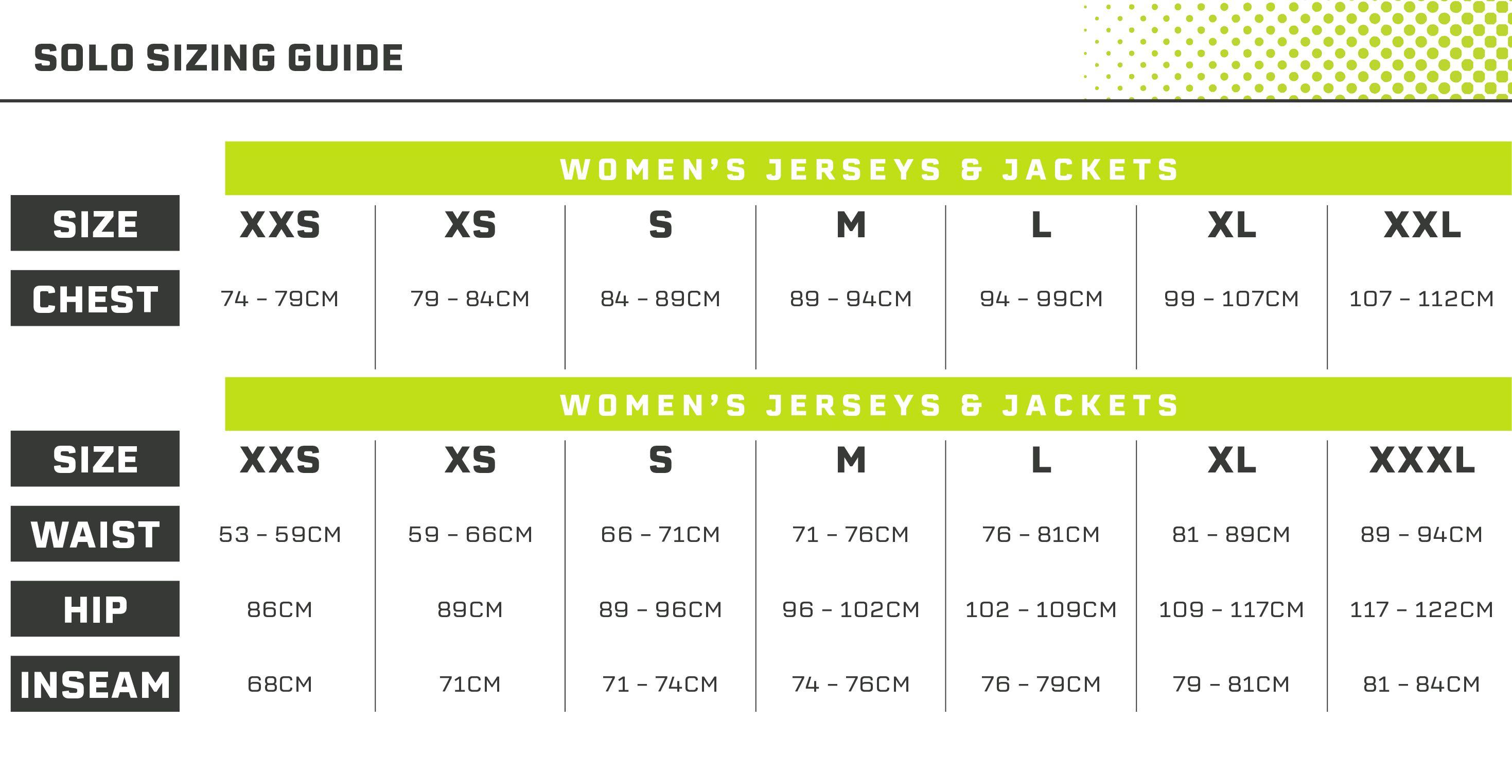 Solo Women's Size Guide