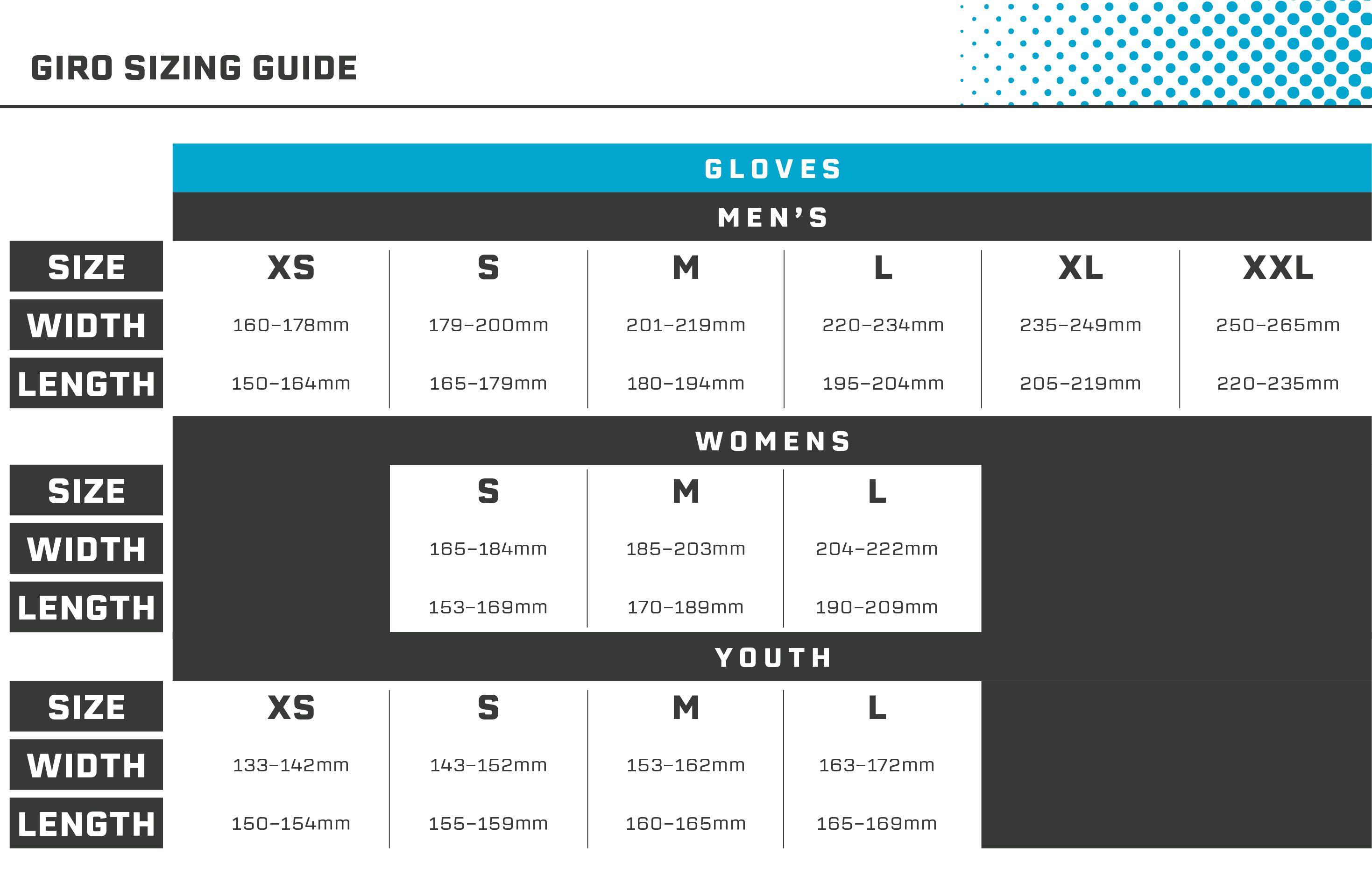 Giro Gloves Size Guide