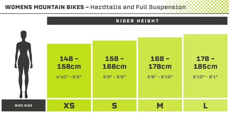 Womens Mountain Bike - Size Guide