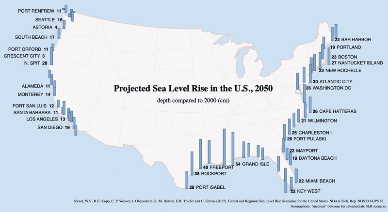 Flood - Projected sea level rise for US coastal cities