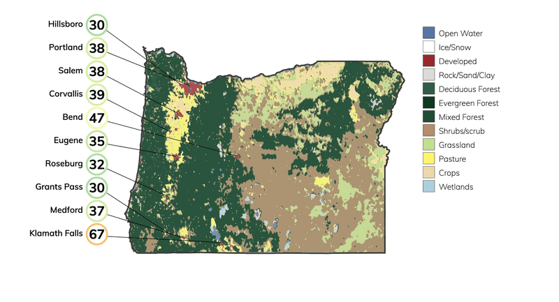 Map showing land cover in Oregon and typical fire risk, out of 100, for buildings at risk in different cities in Oregon.