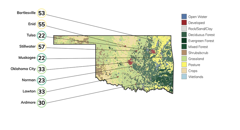 Map showing land cover in Oklahoma and typical fire risk, out of 100, for buildings at risk in different cities in Oklahoma.