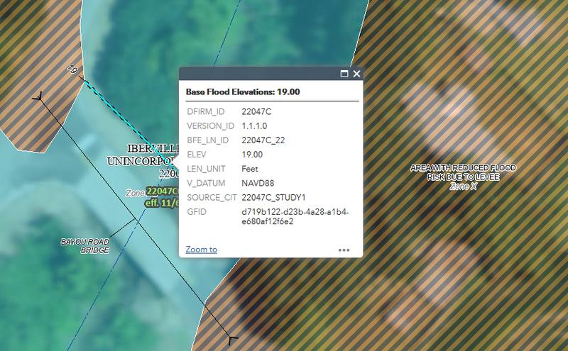 Flood - FEMA flood map example - Base Flood Elevation (BFE)