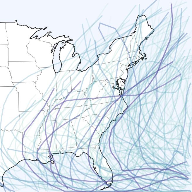 Storm - Atlantic hurricane tracks
