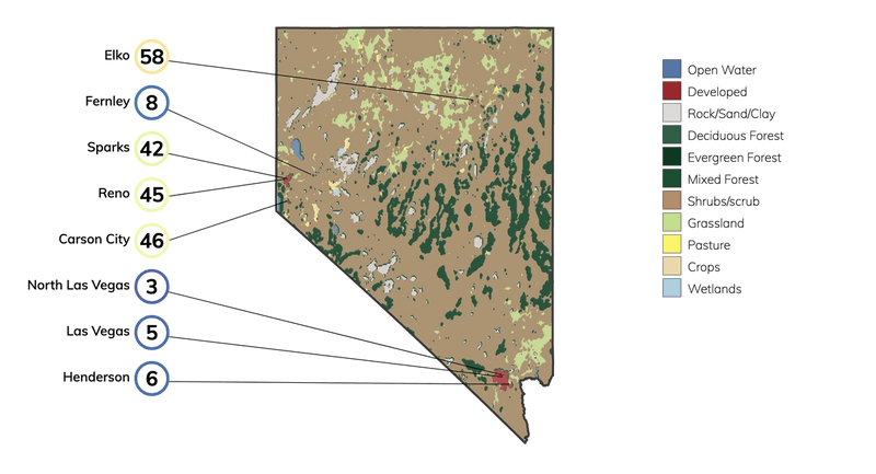 Map showing land cover in Nevada and typical fire risk, out of 100, for buildings at risk in different cities in Nevada.
