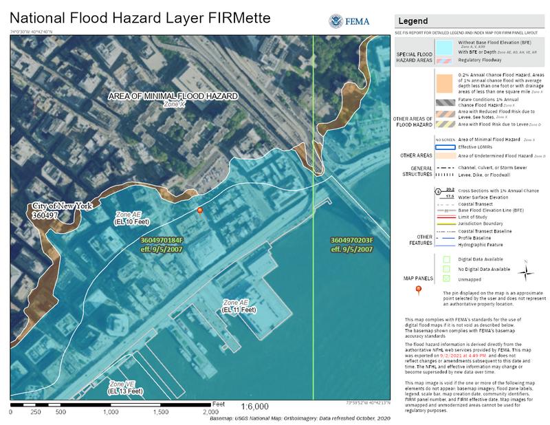 Flood - FEMA flood map example - New York City