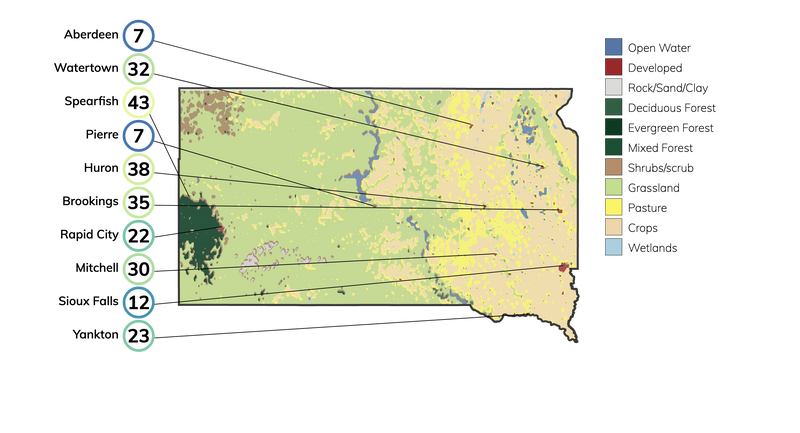 Map showing land cover in South Dakota and typical fire risk, out of 100, for buildings at risk in different cities in South Dakota.