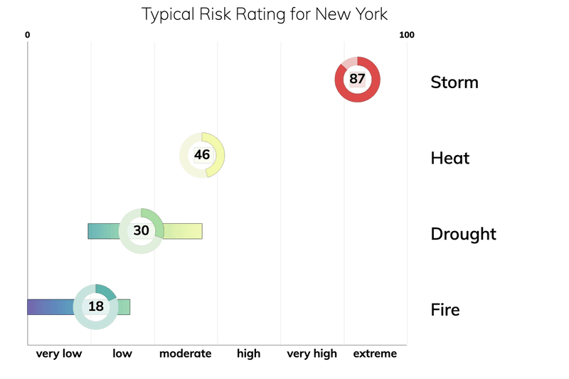 Bar chart showing typical risk ranges for fire, drought, heat, and storm for people living in New York. Drought: typical risk is 30.0 out of 100. Storm: typical risk is 87.0. Heat: typical risk is 46.0. Fire: typical risk is 18.0.