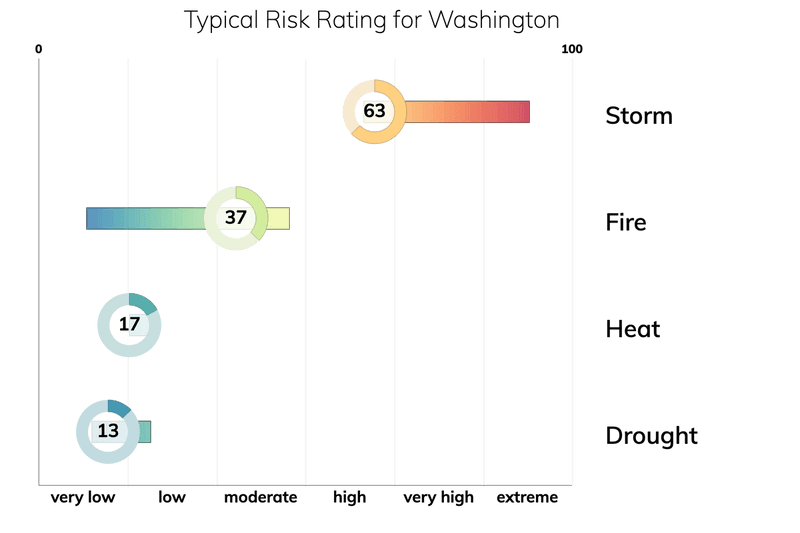 Bar chart showing typical risk ranges for fire, drought, heat, and storm for people living in Washington. Drought: typical risk is 13.0 out of 100. Storm: typical risk is 63.0. Heat: typical risk is 17.0. Fire: typical risk is 37.0.
