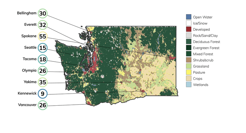 Map showing land cover in Washington and typical fire risk, out of 100, for buildings at risk in different cities in Washington.