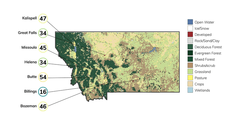 Map showing land cover in Montana and typical fire risk, out of 100, for buildings at risk in different cities in Montana.