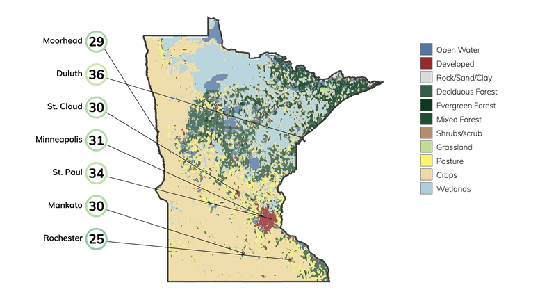 Map showing land cover in Minnesota and typical fire risk, out of 100, for buildings at risk in different cities in Minnesota.