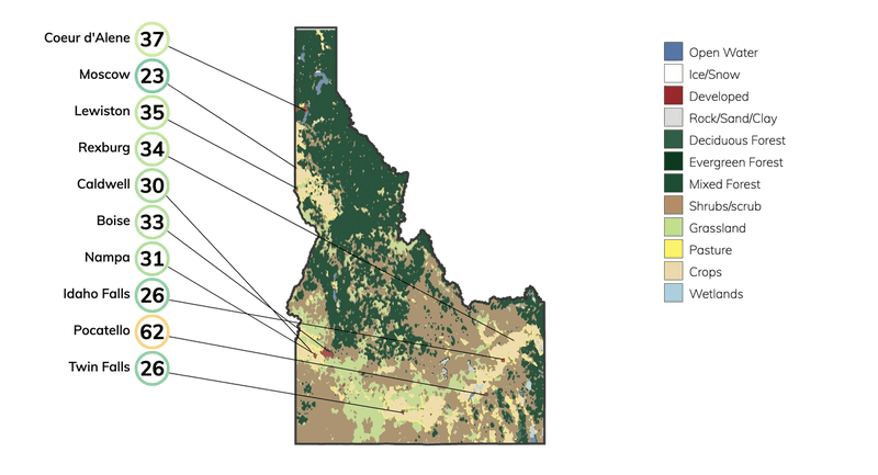 Map showing land cover in Idaho and typical fire risk, out of 100, for buildings at risk in different cities in Idaho.