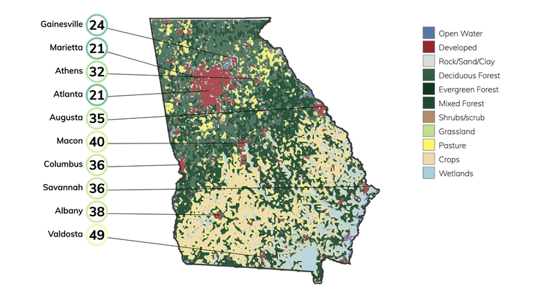 Map showing land cover in Georgia and typical fire risk, out of 100, for buildings at risk in different cities in Georgia.