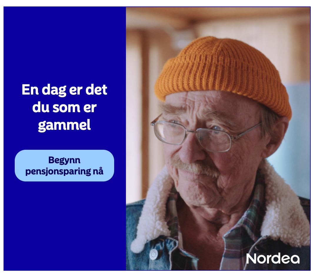 """Bilde av gammel mann og tekst """"En dag er det du som er gammel"""""""