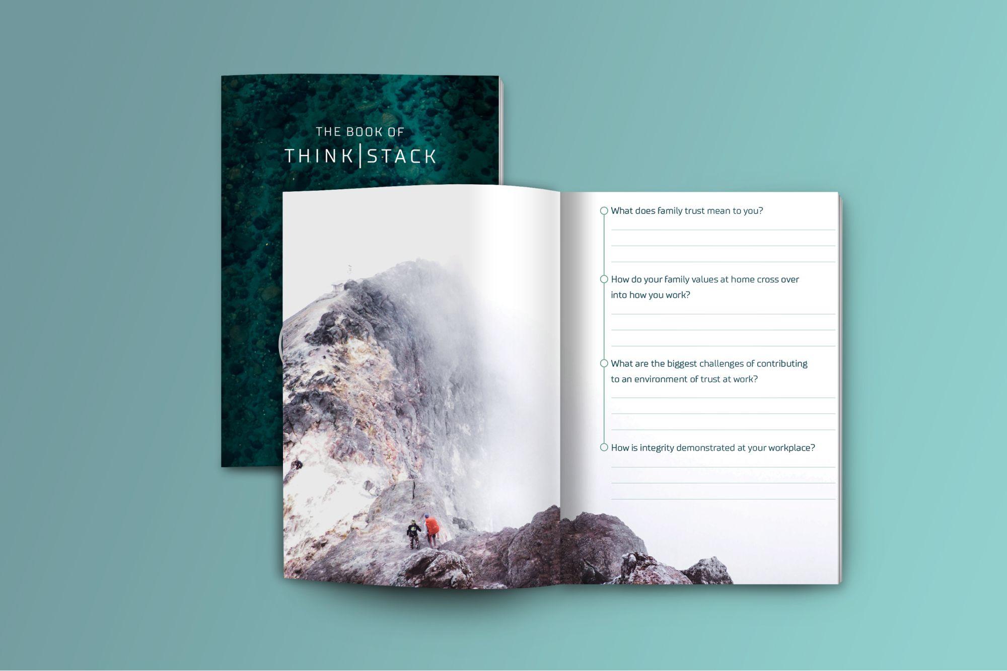 Think Stack magazine mockup on light blue background