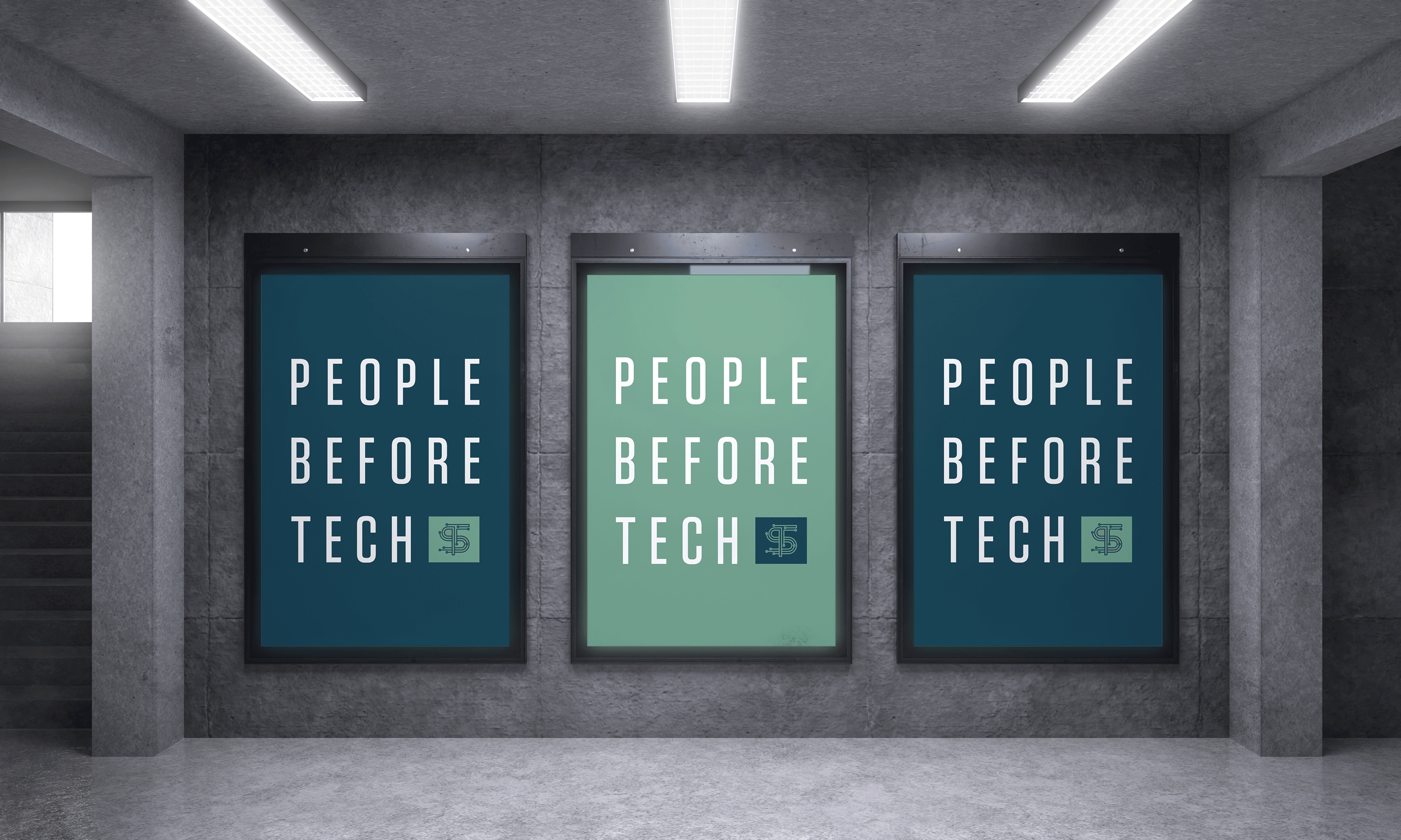 """Two dark green and one light green """"People Before Tech"""" posters"""