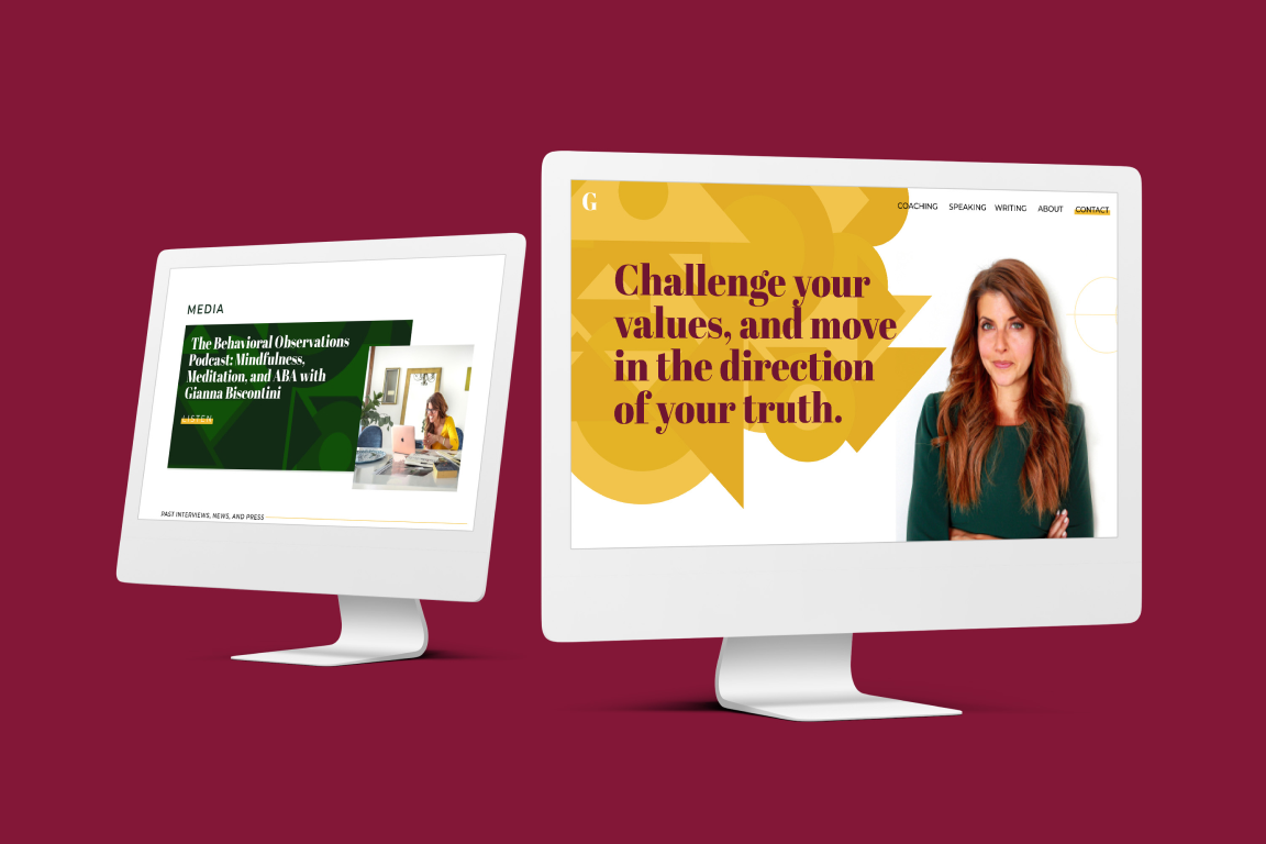 Website mockup of Gianna Biscontini's site
