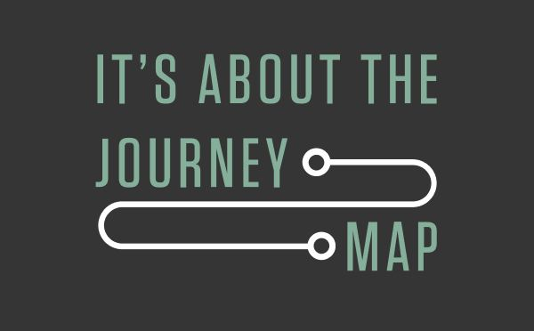 """""""It's about the journey map"""" in mint text with white connecting lines"""