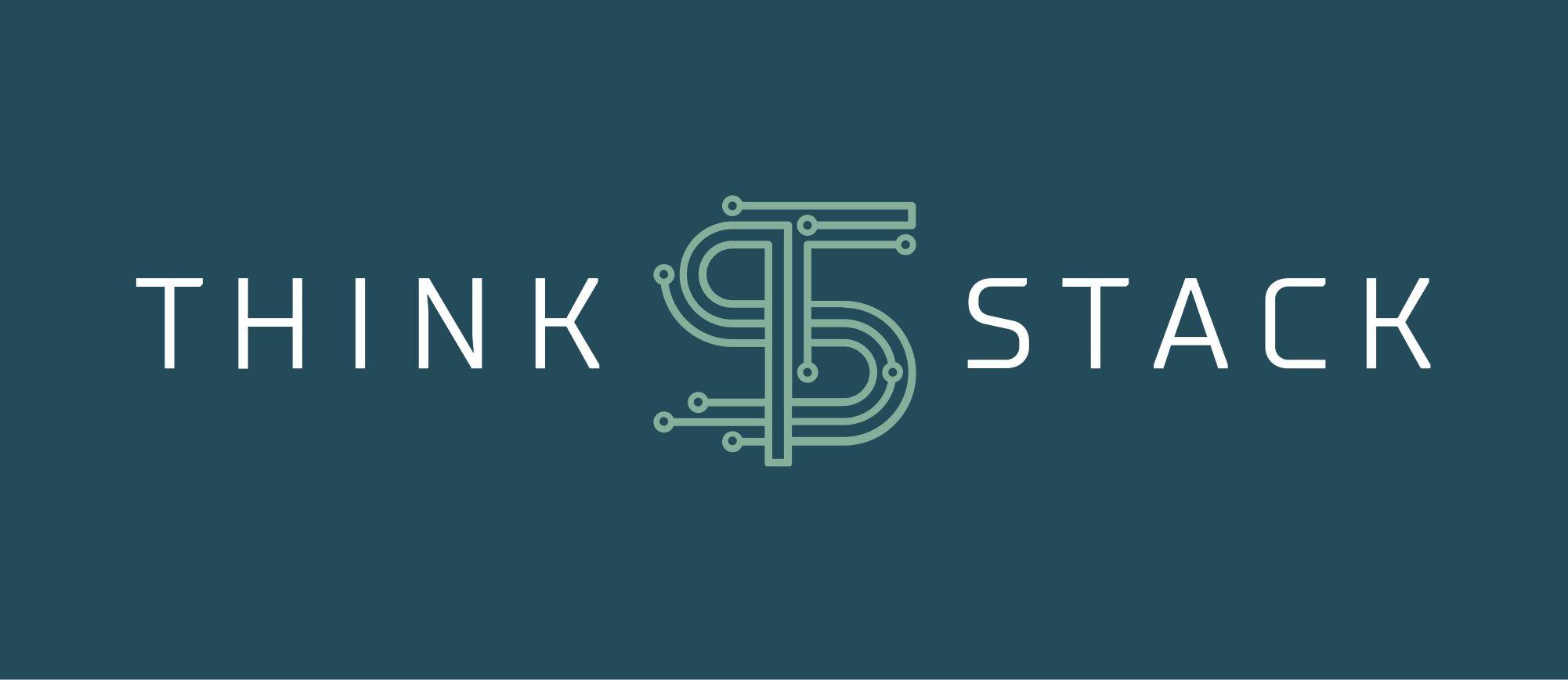 Think Stack logo over blue background