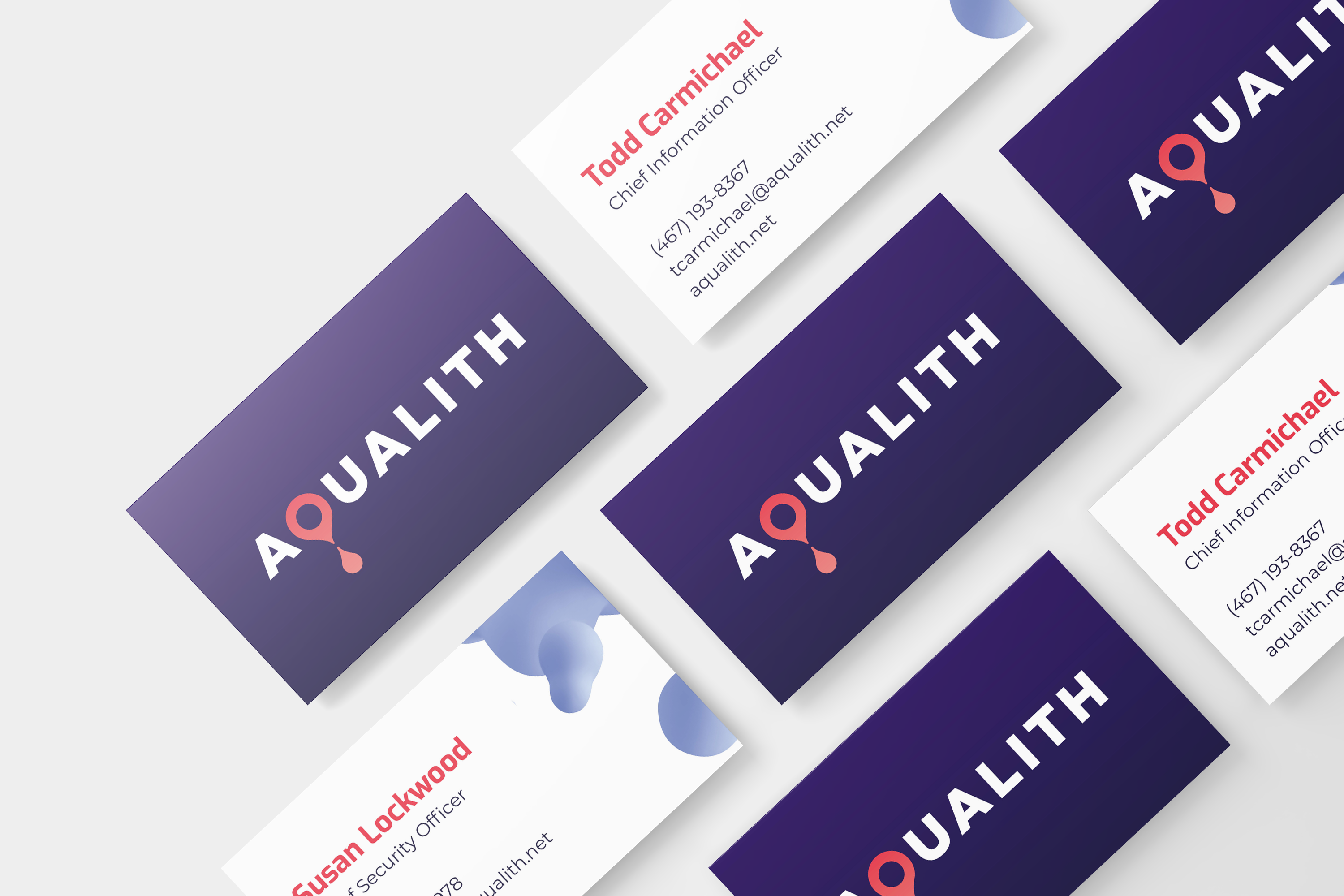 AquaLith business cards mock up