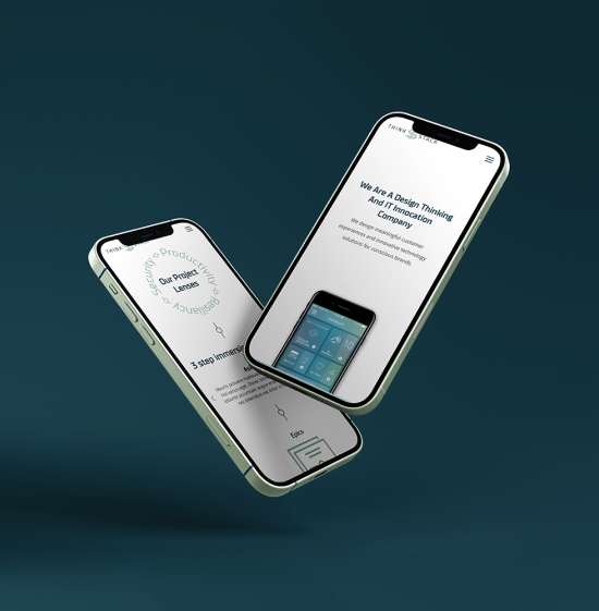 iPhone mockup of Think Stack website