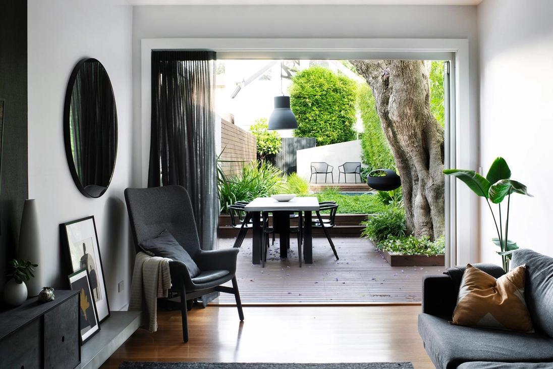 Interior shot of house facing towards a GoodManors designed backyard