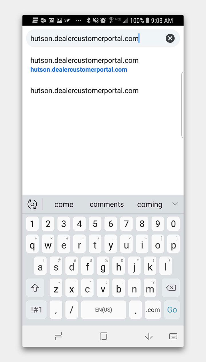 Searching for hutson.dealercustomerportal.com