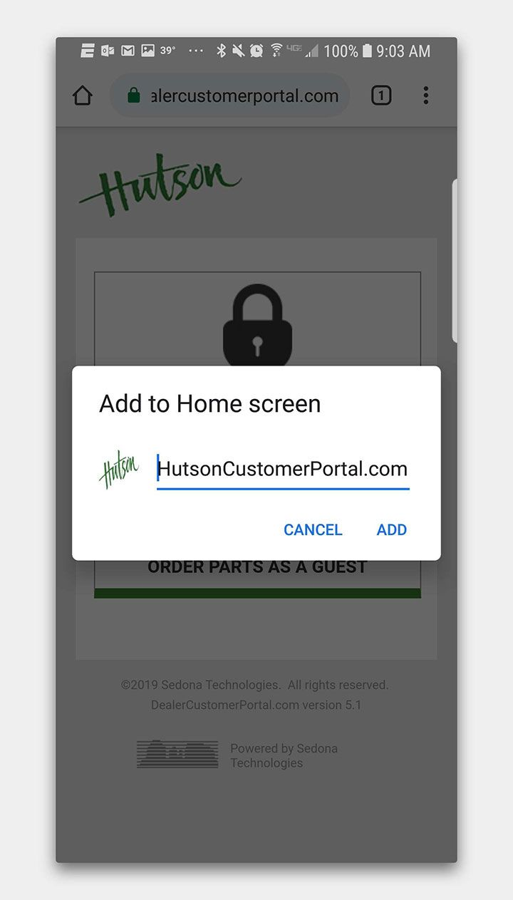 Saving Hutson Customer Portal to Android Home Screen