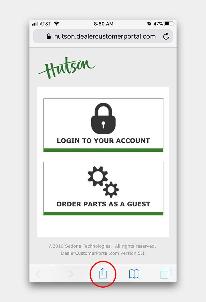 Hutson Customer Portal page