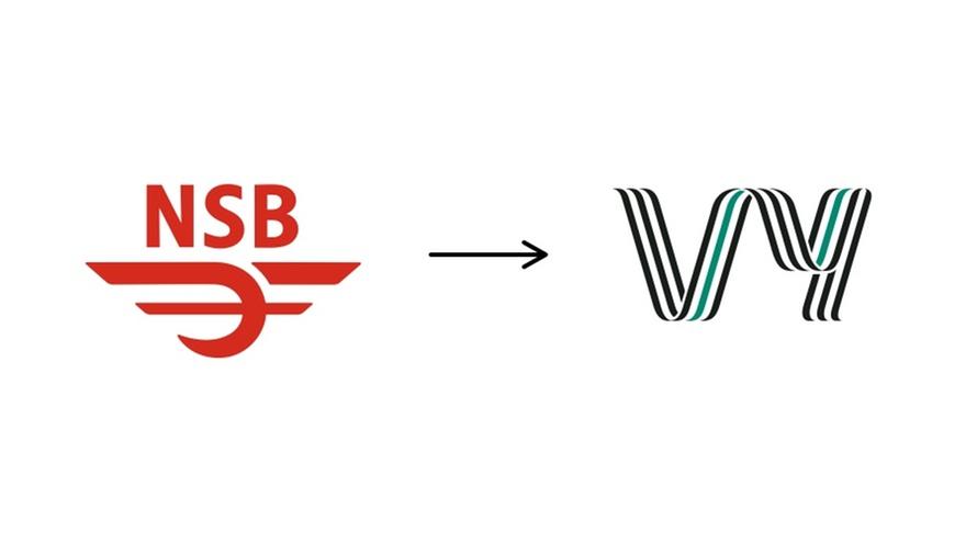 Gamle NSB-logoen og dagens Vy-logo