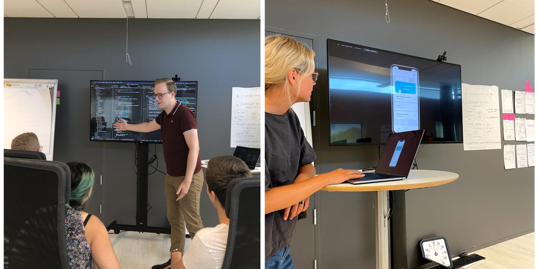 David forklarer noe i koden på storskjermen mens resten av utviklerne følger med. Og Vilde viser frem designendringer på storskjerm.