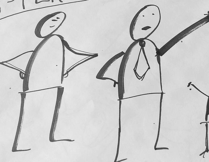 illustrasjon av to lederlignende strekmenn som snakker til en forsamling