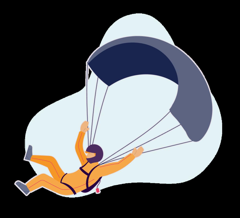 Illustrasjon. Person i fallskjerm kommer inn for trygg landing