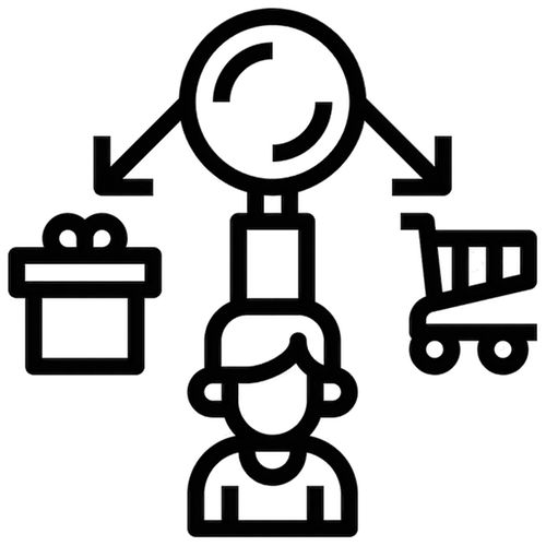illustration of a consumers thought process when buying a product.