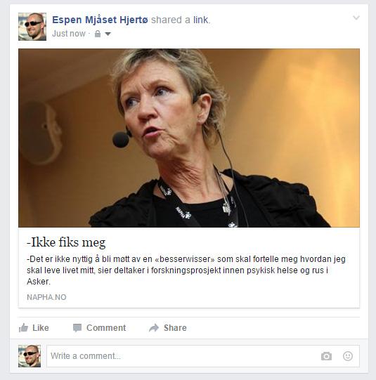 """Skjermdump av Espen Mjåset Hjertøs facebookside hvor han deler lenken """"-Ikke fiks meg""""."""