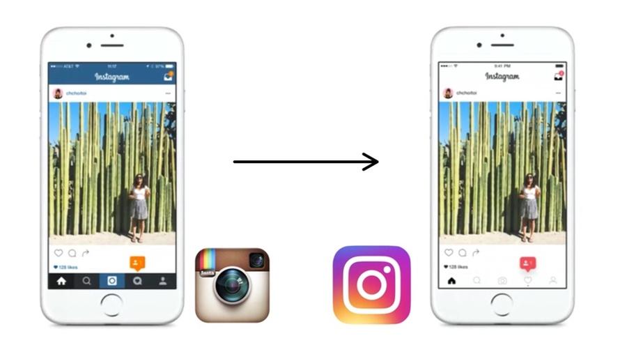 skjermdumper fra instagram før og etter oppdatering.