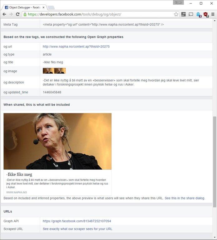Skjermdump av artikkelen i lenken som oppdateres automatisk ved hjelp av Open Graph debuggeren