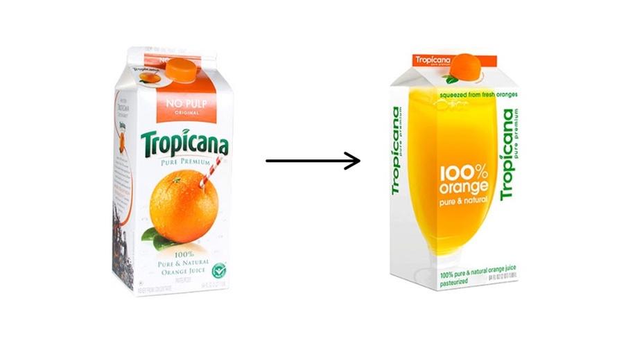 Tropicana juice før og etter lansering av ny pakning i 2009