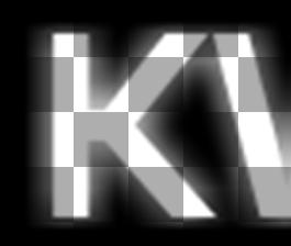 """Visualisering av effektmasken der bokstavene """"stråler"""" utover."""
