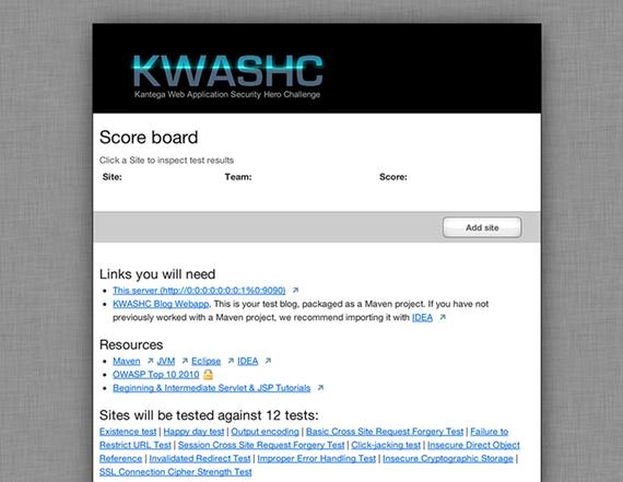 Skjermdump av KWASCHs nettside