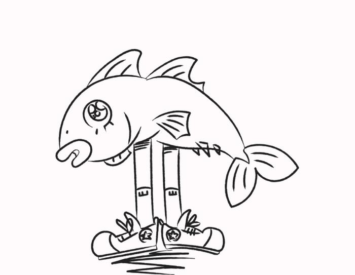 Illustrasjon av en fisk med to bein og joggesko.