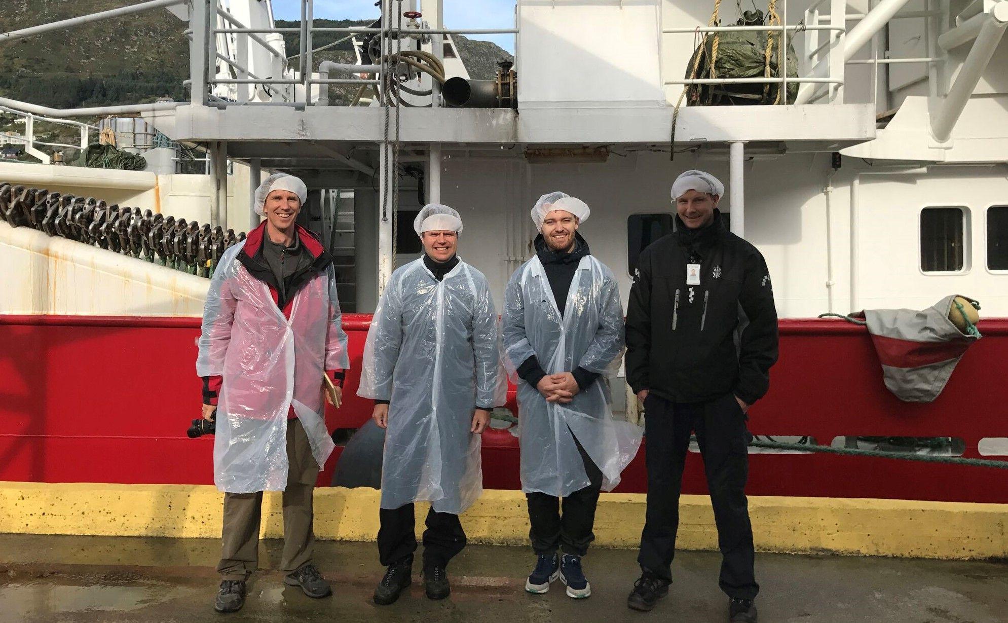 Et tidlig prosjektteam på befaring. Torstein, Anders, Hans-Jørgen og xxx fra Fisk