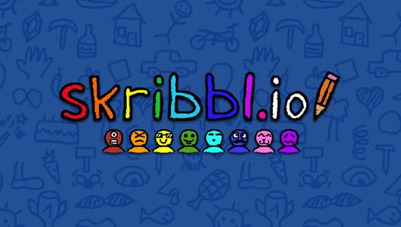 """Coverbilde av tegnespillet Skribbl.io. Små figurer i ulike farger står på rekke, navnet """"Skribbl.io"""" og en fargeblyant over."""