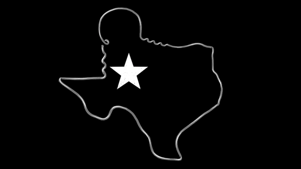 A black and white graphic with the outline of Texas made with a clothes hanger