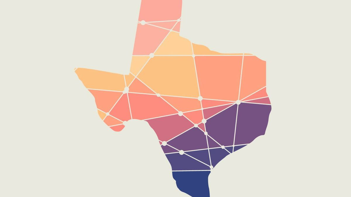 A multi-colored graphic representation of the state of Texas