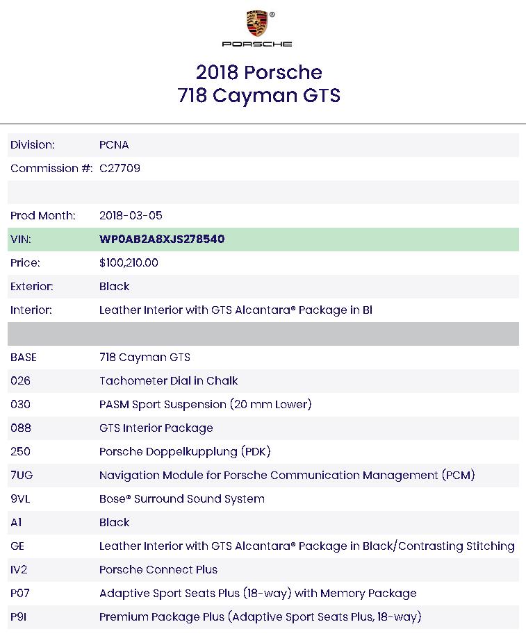 2018 Porsche Targa 4S Build Sheet at Driven