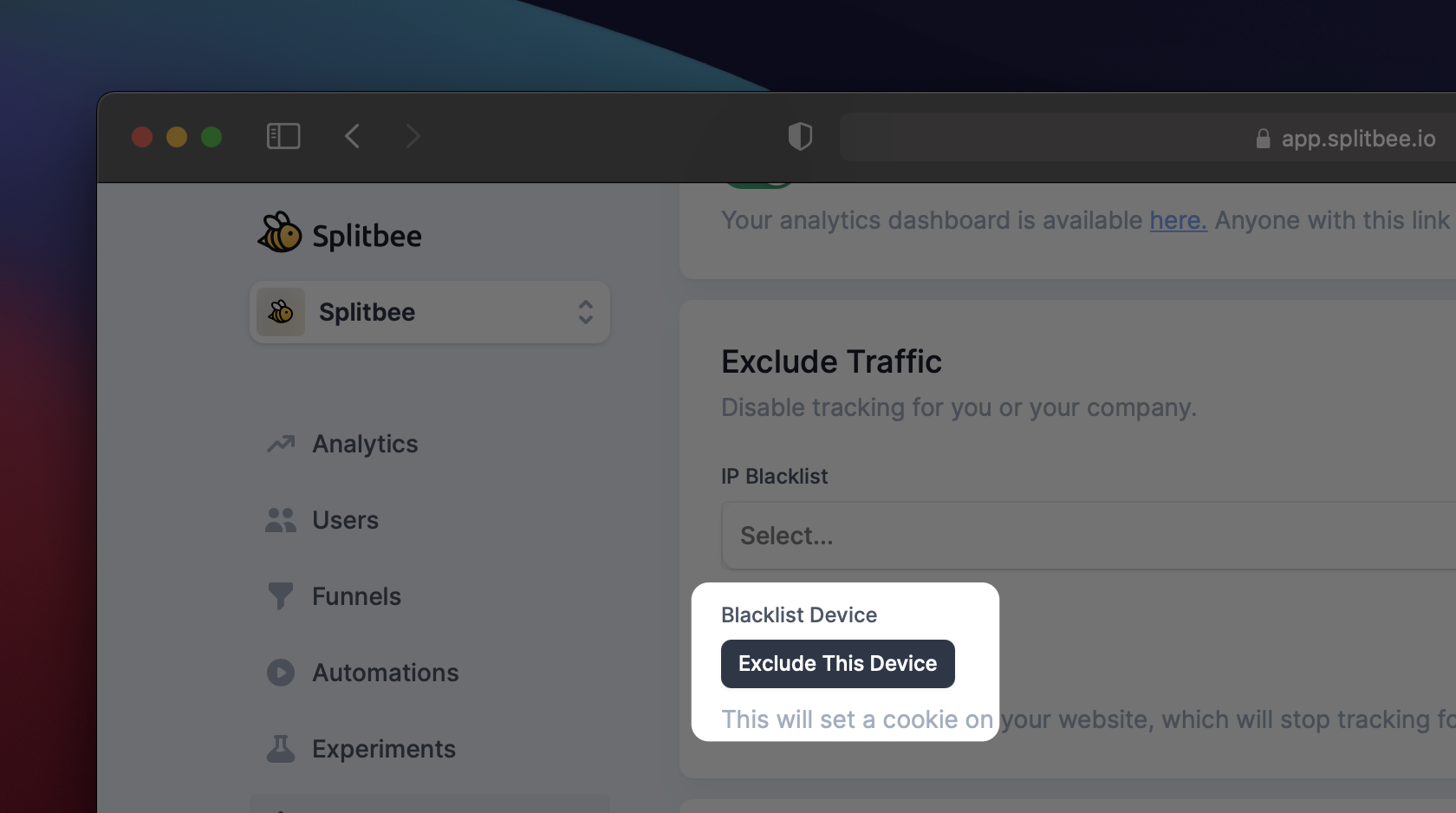 How to exclude a device from Splitbee
